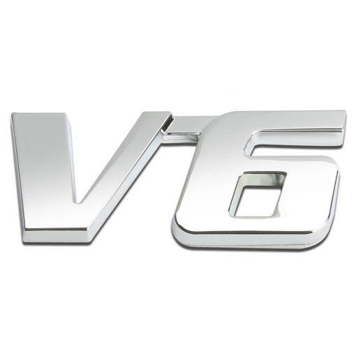 آرم فلزی V6 با روکش کروم