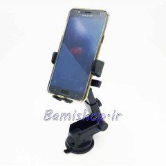 پایه نگهدارنده موبایل ماشین جک دار قابل نصب روی شیشه و داشبورد خودرو